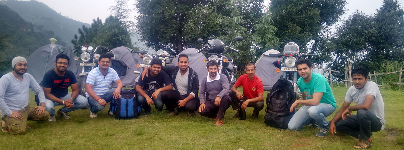Churwadhar Camping Rajgarh Himachal Pradesh Bikers at Base Camp